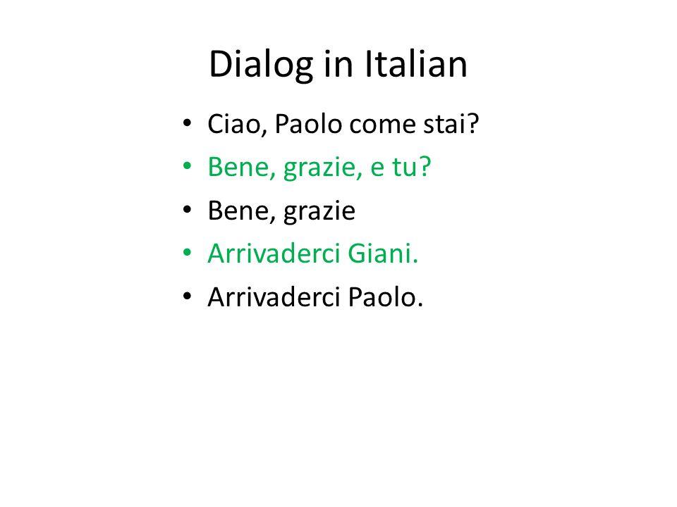 Dialog in Italian- now you try Ciao, come stai.Bene, grazie, e tu.