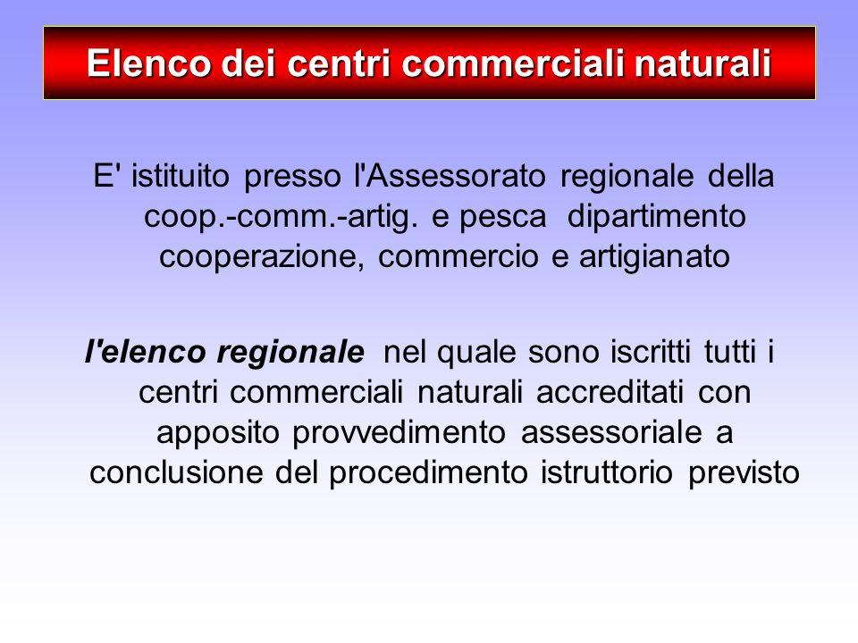Elenco dei centri commerciali naturali E' istituito presso l'Assessorato regionale della coop.-comm.-artig. e pesca dipartimento cooperazione, commerc