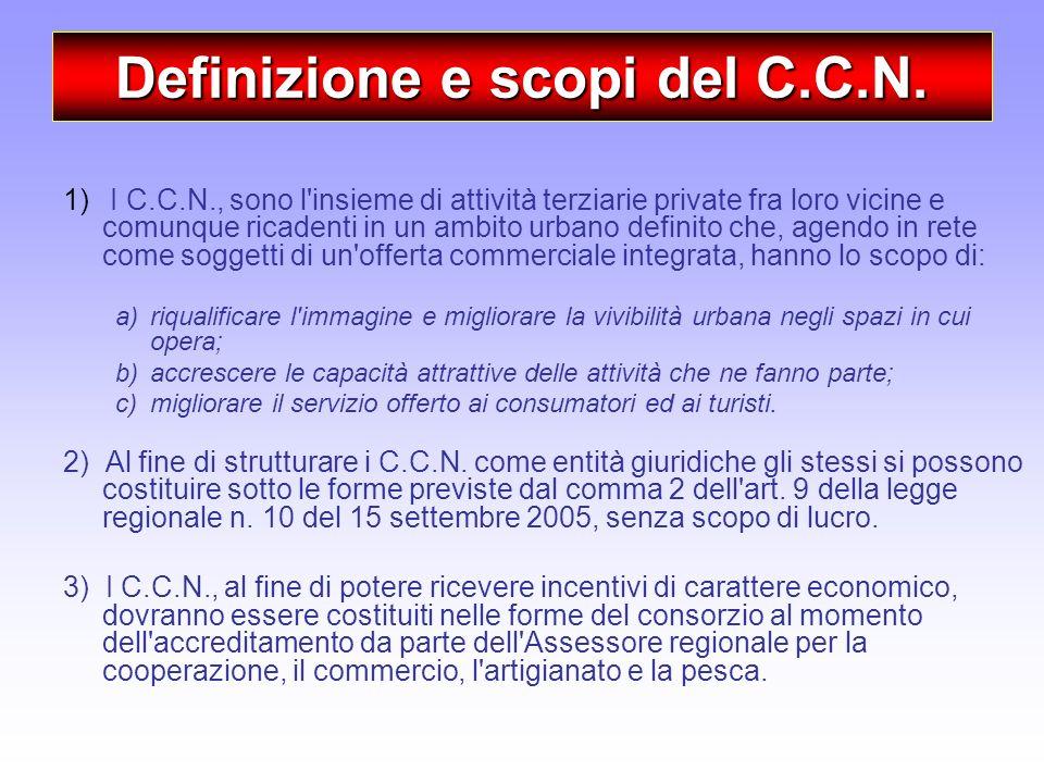 Definizione e scopi del C.C.N. 1) I C.C.N., sono l'insieme di attività terziarie private fra loro vicine e comunque ricadenti in un ambito urbano defi