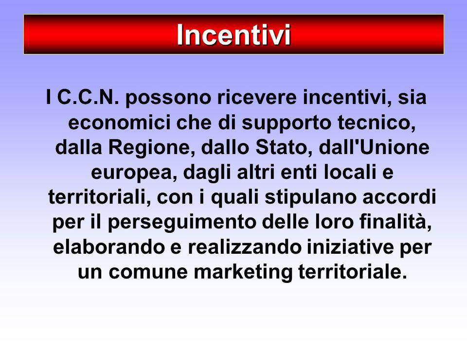 Incentivi I C.C.N. possono ricevere incentivi, sia economici che di supporto tecnico, dalla Regione, dallo Stato, dall'Unione europea, dagli altri ent