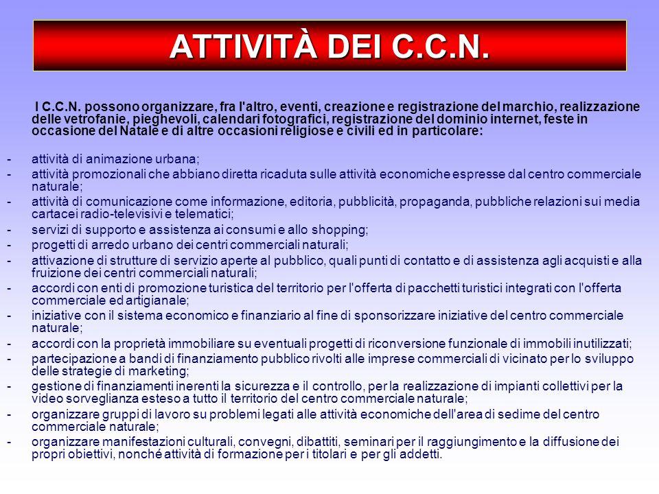 ATTIVITÀ DEI C.C.N. I C.C.N. possono organizzare, fra l'altro, eventi, creazione e registrazione del marchio, realizzazione delle vetrofanie, pieghevo