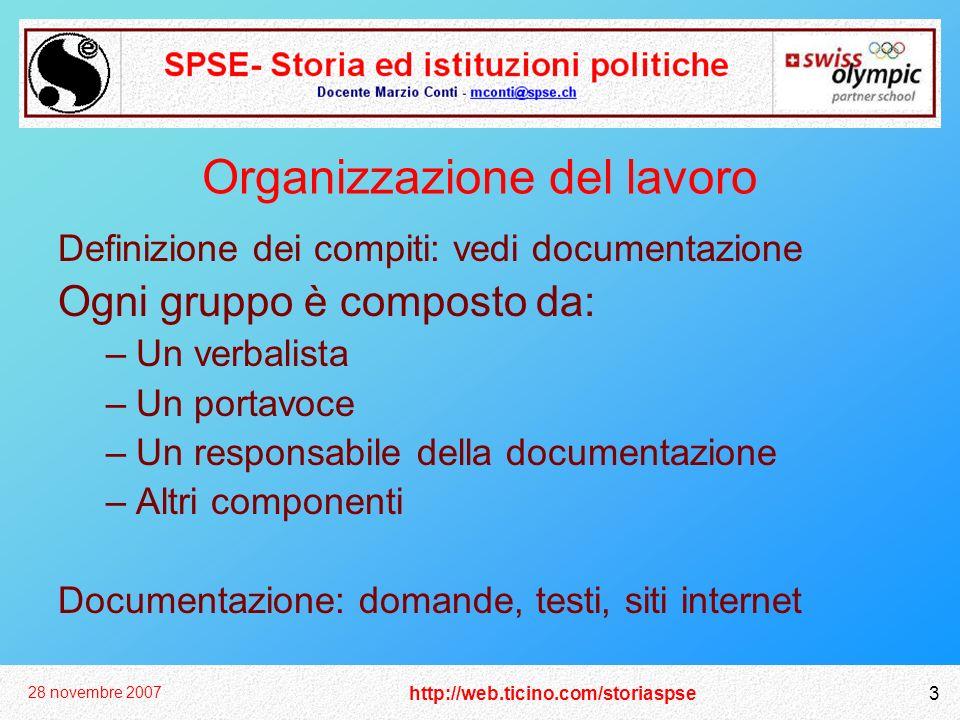 http://web.ticino.com/storiaspse 28 novembre 2007 3 Organizzazione del lavoro Definizione dei compiti: vedi documentazione Ogni gruppo è composto da: