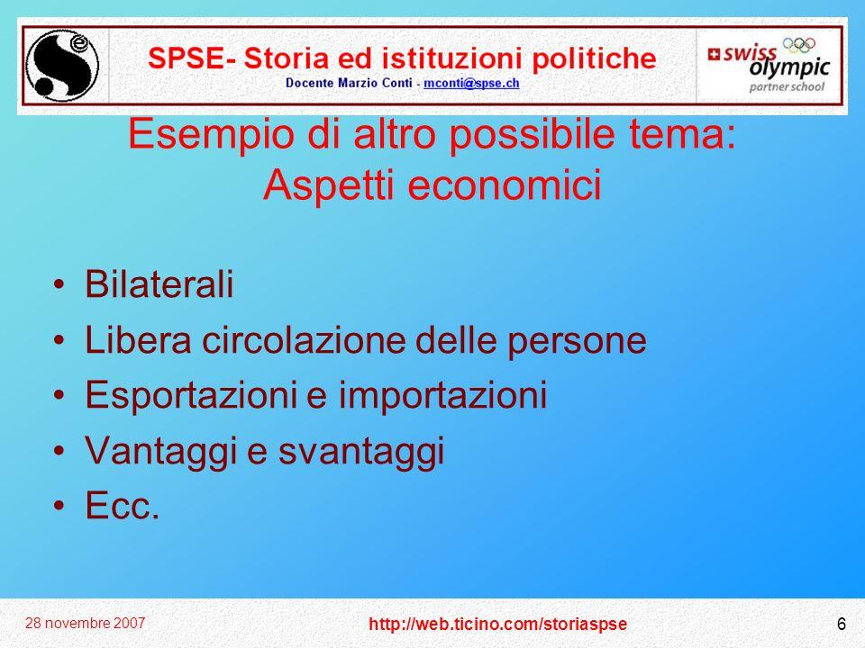 http://web.ticino.com/storiaspse 28 novembre 2007 6 Esempio di altro possibile tema: Aspetti economici Bilaterali Libera circolazione delle persone Esportazioni e importazioni Vantaggi e svantaggi Ecc.