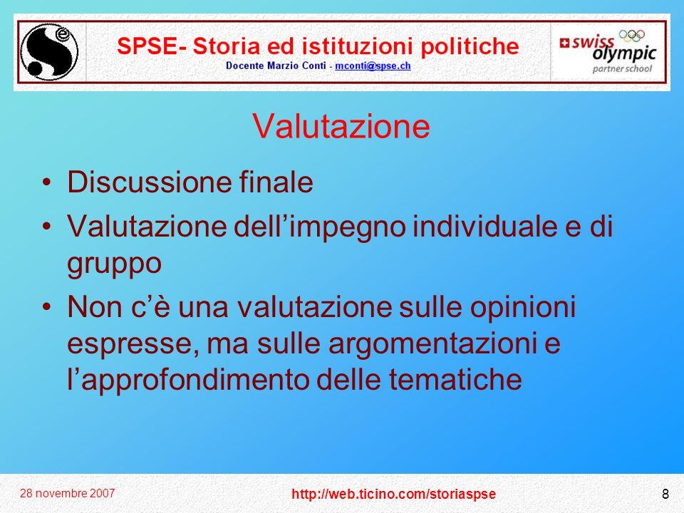 http://web.ticino.com/storiaspse 28 novembre 2007 8 Valutazione Discussione finale Valutazione dellimpegno individuale e di gruppo Non cè una valutazi