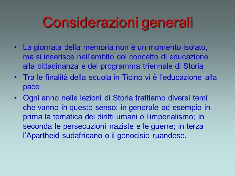 Considerazioni generali La giornata della memoria non è un momento isolato, ma si inserisce nellambito del concetto di educazione alla cittadinanza e