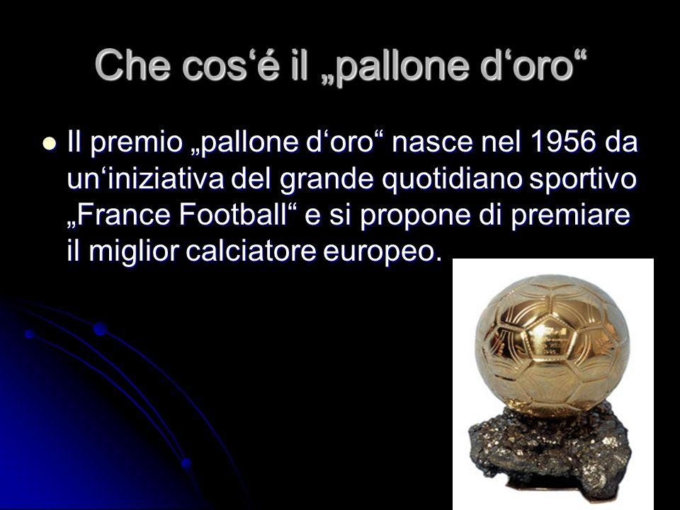 Che cosé il pallone doro Il premio pallone doro nasce nel 1956 da uniniziativa del grande quotidiano sportivo France Football e si propone di premiare il miglior calciatore europeo.