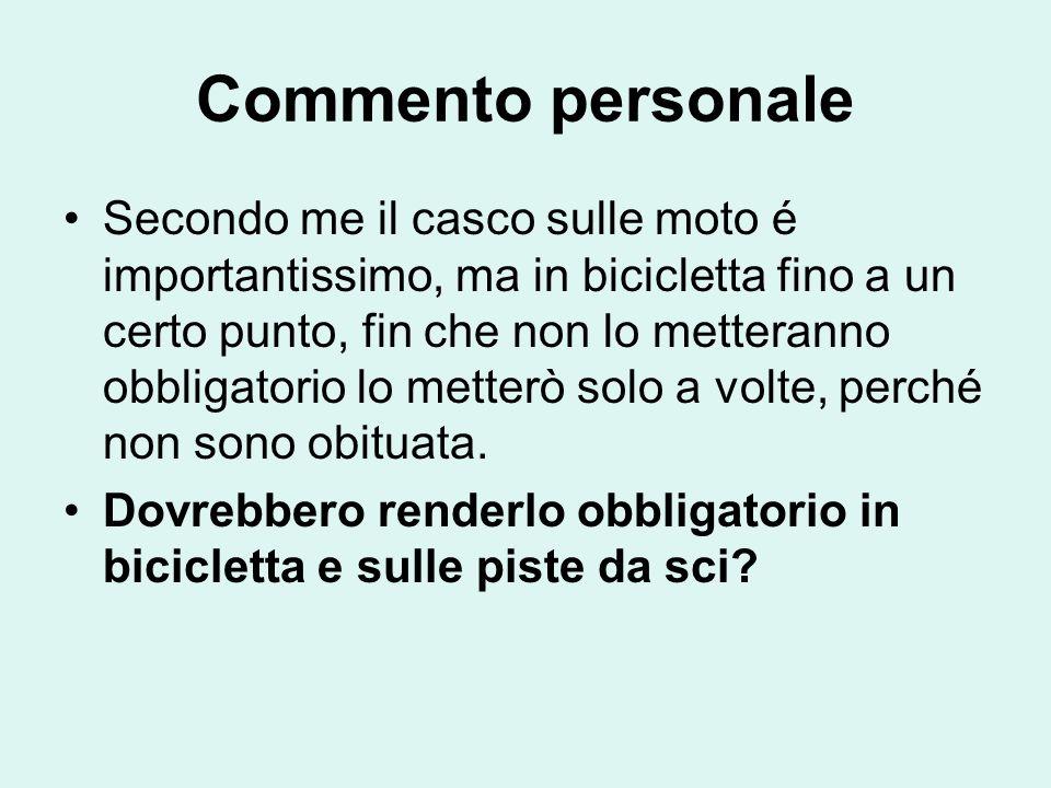 Commento personale Secondo me il casco sulle moto é importantissimo, ma in bicicletta fino a un certo punto, fin che non lo metteranno obbligatorio lo metterò solo a volte, perché non sono obituata.