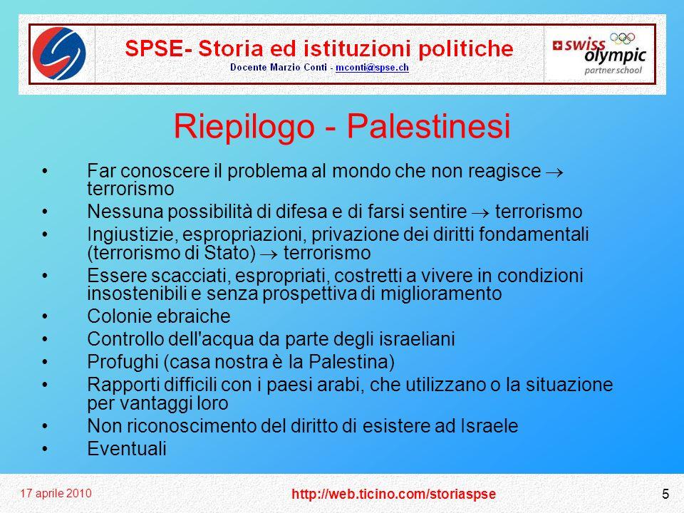 http://web.ticino.com/storiaspse 17 aprile 2010 5 Riepilogo - Palestinesi Far conoscere il problema al mondo che non reagisce terrorismo Nessuna possi