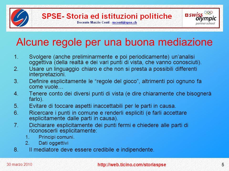 http://web.ticino.com/storiaspse 30 marzo 2010 5 Alcune regole per una buona mediazione 1.Svolgere (anche preliminarmente e poi periodicamente) unanal
