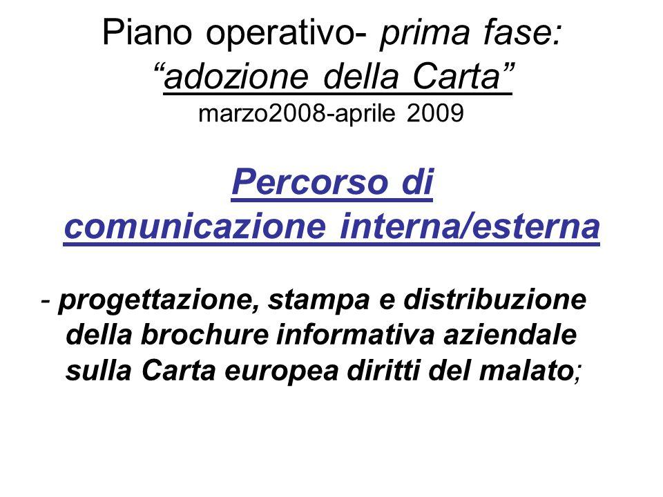Piano operativo- prima fase:adozione della Carta marzo2008-aprile 2009 Percorso di comunicazione interna/esterna - progettazione, stampa e distribuzio