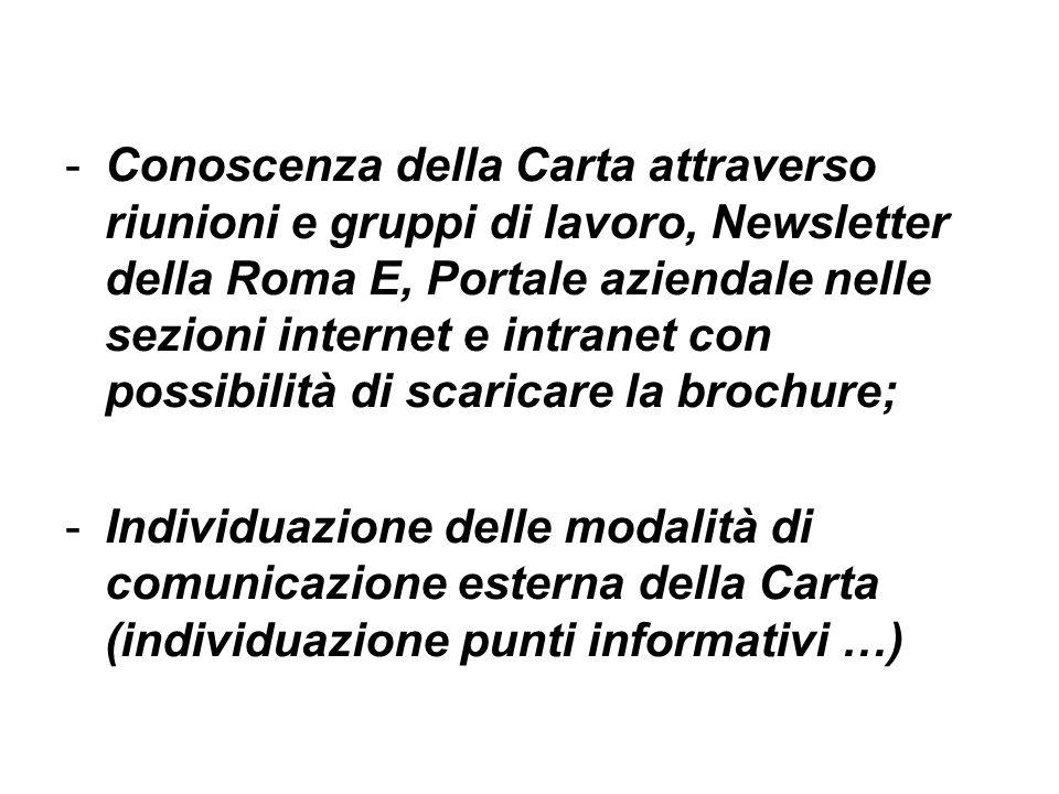 -Conoscenza della Carta attraverso riunioni e gruppi di lavoro, Newsletter della Roma E, Portale aziendale nelle sezioni internet e intranet con possi