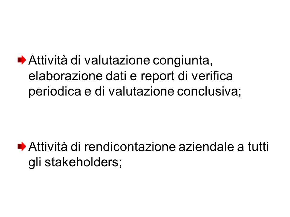 Attività di valutazione congiunta, elaborazione dati e report di verifica periodica e di valutazione conclusiva; Attività di rendicontazione aziendale a tutti gli stakeholders;