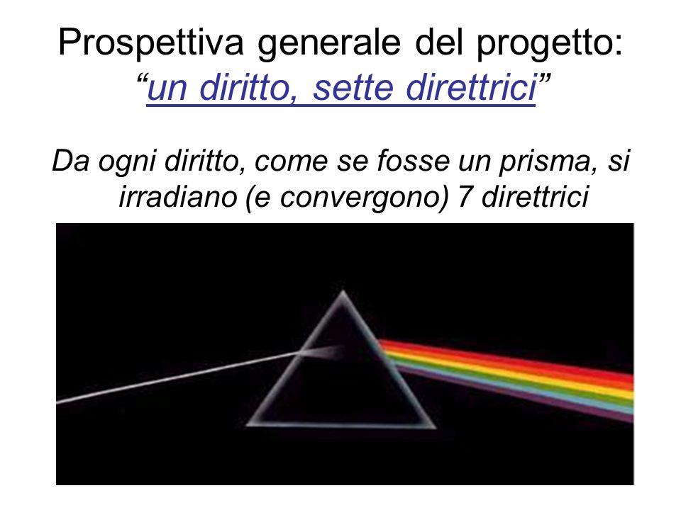 Prospettiva generale del progetto:un diritto, sette direttrici Da ogni diritto, come se fosse un prisma, si irradiano (e convergono) 7 direttrici