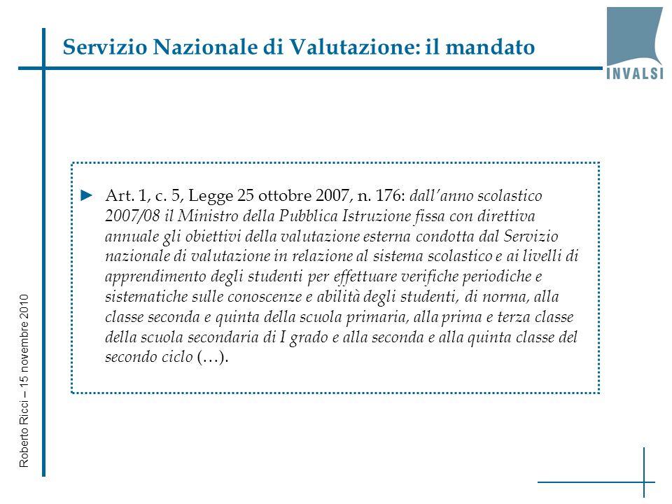 Il Servizio Nazionale di Valutazione: uninfrastruttura immateriale per il miglioramento Roberto Ricci INVALSI 15 novembre 2010