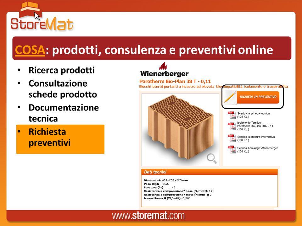 COSA: prodotti, consulenza e preventivi online Ricerca prodotti Consultazione schede prodotto Documentazione tecnica Richiesta preventivi