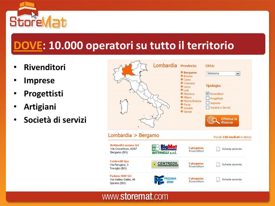 DOVE: 10.000 operatori su tutto il territorio Rivenditori Imprese Progettisti Artigiani Società di servizi