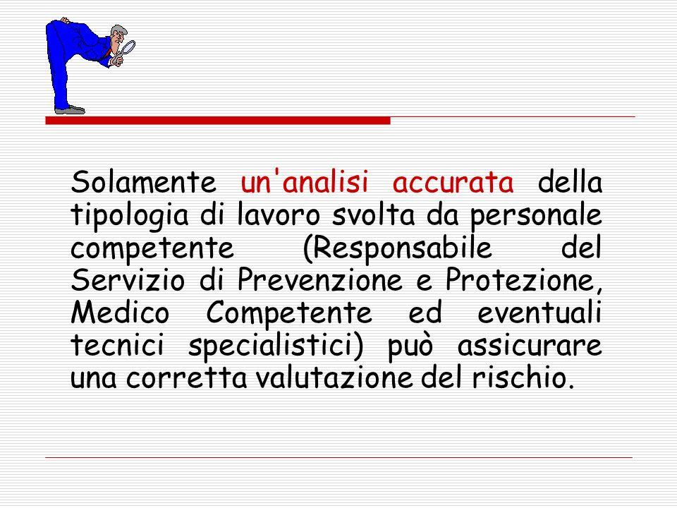 Solamente un'analisi accurata della tipologia di lavoro svolta da personale competente (Responsabile del Servizio di Prevenzione e Protezione, Medico