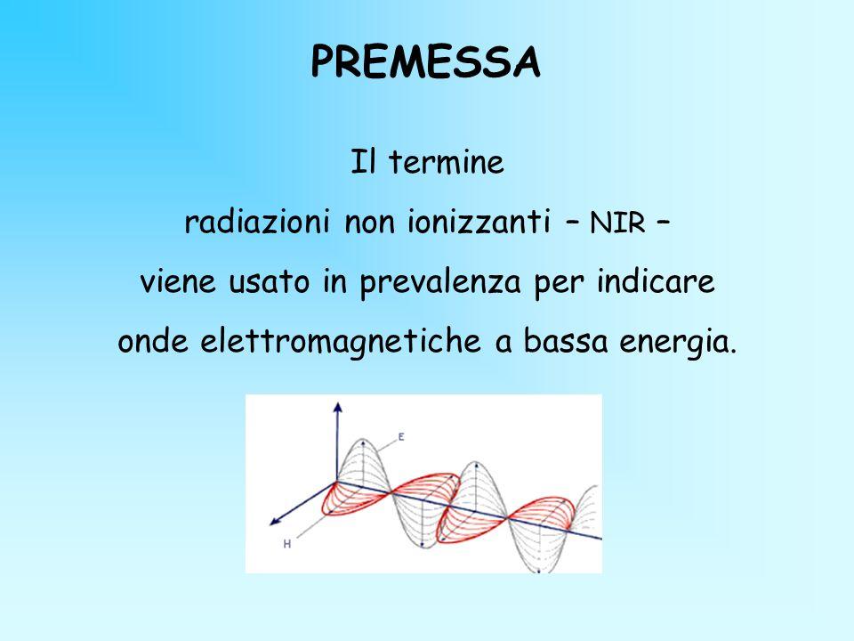 PREMESSA Il termine radiazioni non ionizzanti – NIR – viene usato in prevalenza per indicare onde elettromagnetiche a bassa energia.
