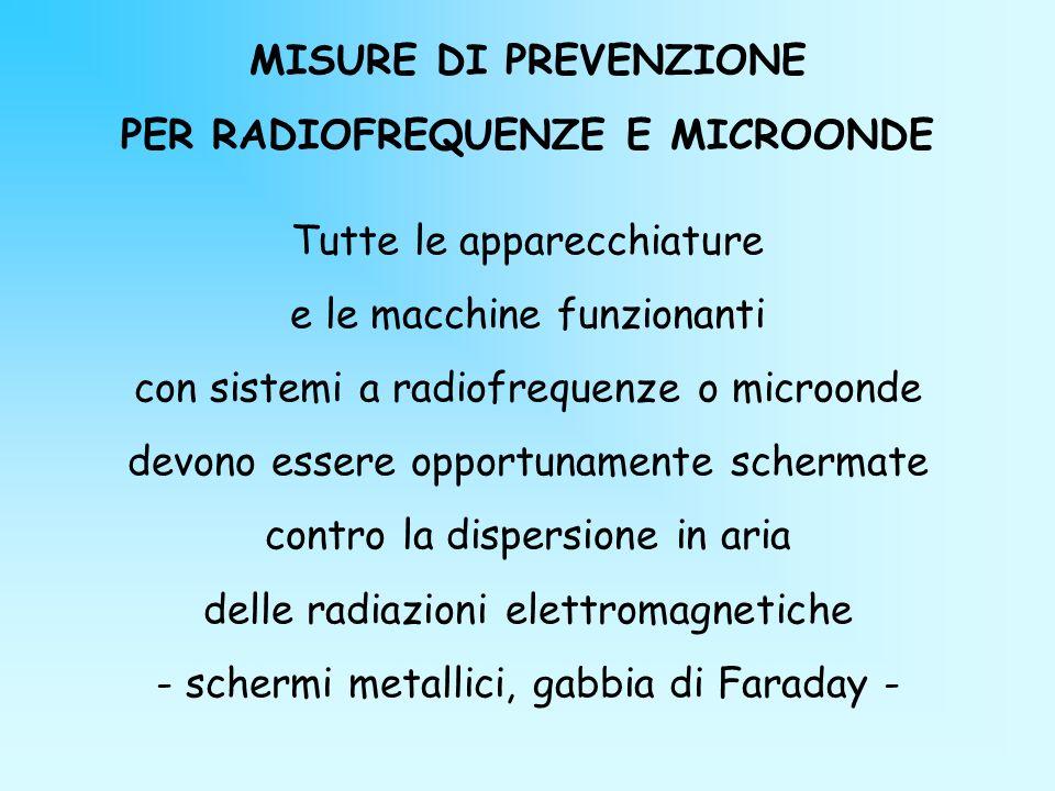 MISURE DI PREVENZIONE PER RADIOFREQUENZE E MICROONDE Tutte le apparecchiature e le macchine funzionanti con sistemi a radiofrequenze o microonde devon