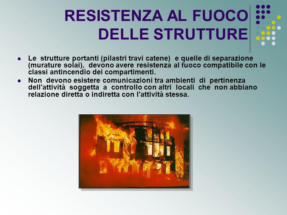 RESISTENZA AL FUOCO DELLE STRUTTURE Le strutture portanti (pilastri travi catene) e quelle di separazione (murature solai), devono avere resistenza al fuoco compatibile con le classi antincendio dei compartimenti.