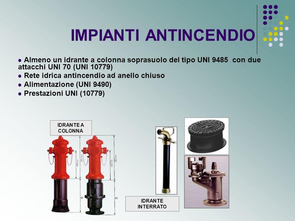 impianti antincendio (segue) Attacco motopompa Impianti automatici eventualmente asserviti da impianti di rivelazione