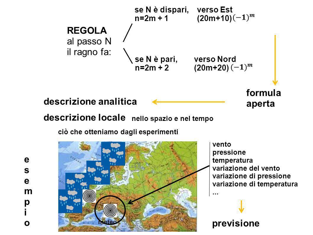 REGOLA al passo N il ragno fa: se N è pari, n=2m + 2 se N è dispari, n=2m + 1 verso Est (20m+10) verso Nord (20m+20) formula aperta descrizione analitica descrizione locale ciò che otteniamo dagli esperimenti nello spazio e nel tempo vento pressione temperatura variazione del vento variazione di pressione variazione di temperatura...