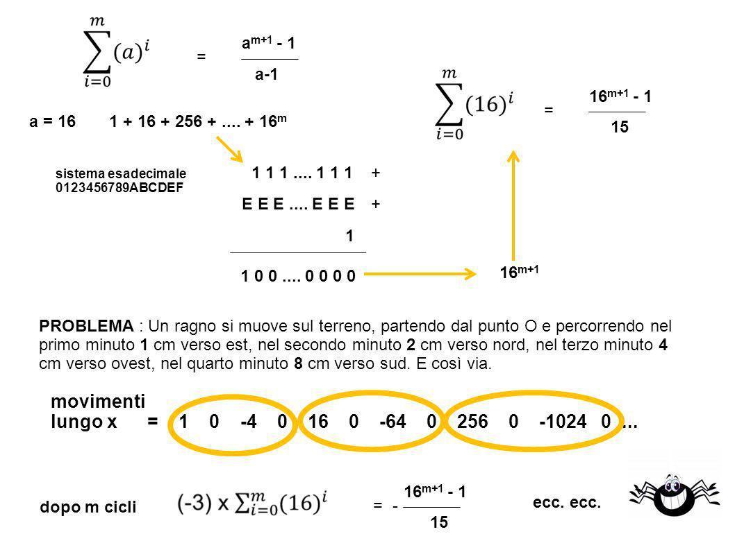 1 + 16 + 256 +.... + 16 m = a = 16 sistema esadecimale 0123456789ABCDEF 1 1 1....