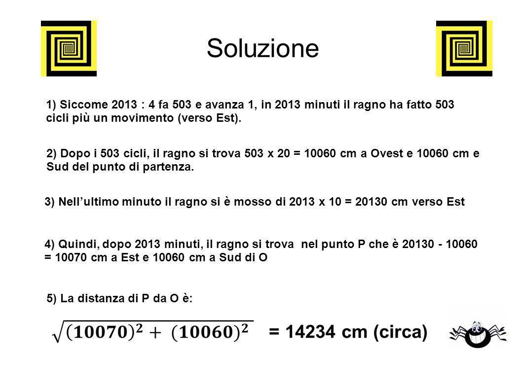 Soluzione 1) Siccome 2013 : 4 fa 503 e avanza 1, in 2013 minuti il ragno ha fatto 503 cicli più un movimento (verso Est).