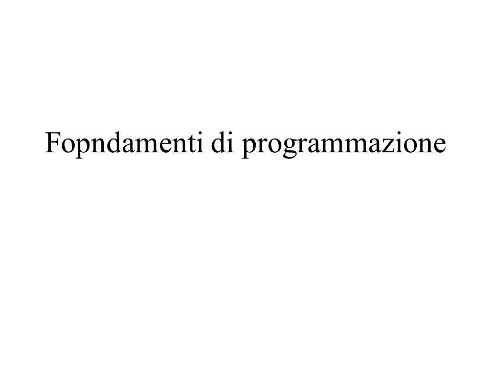 Fopndamenti di programmazione