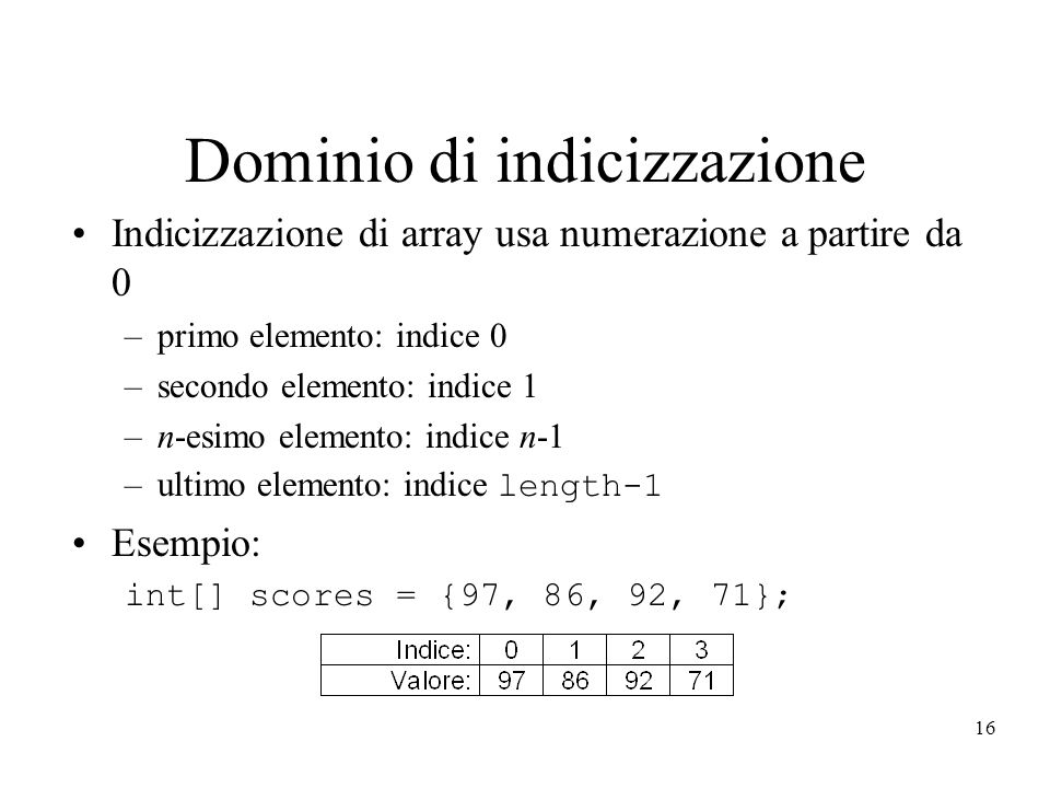 16 Dominio di indicizzazione Indicizzazione di array usa numerazione a partire da 0 –primo elemento: indice 0 –secondo elemento: indice 1 –n-esimo elemento: indice n-1 –ultimo elemento: indice length-1 Esempio: int[] scores = {97, 86, 92, 71};
