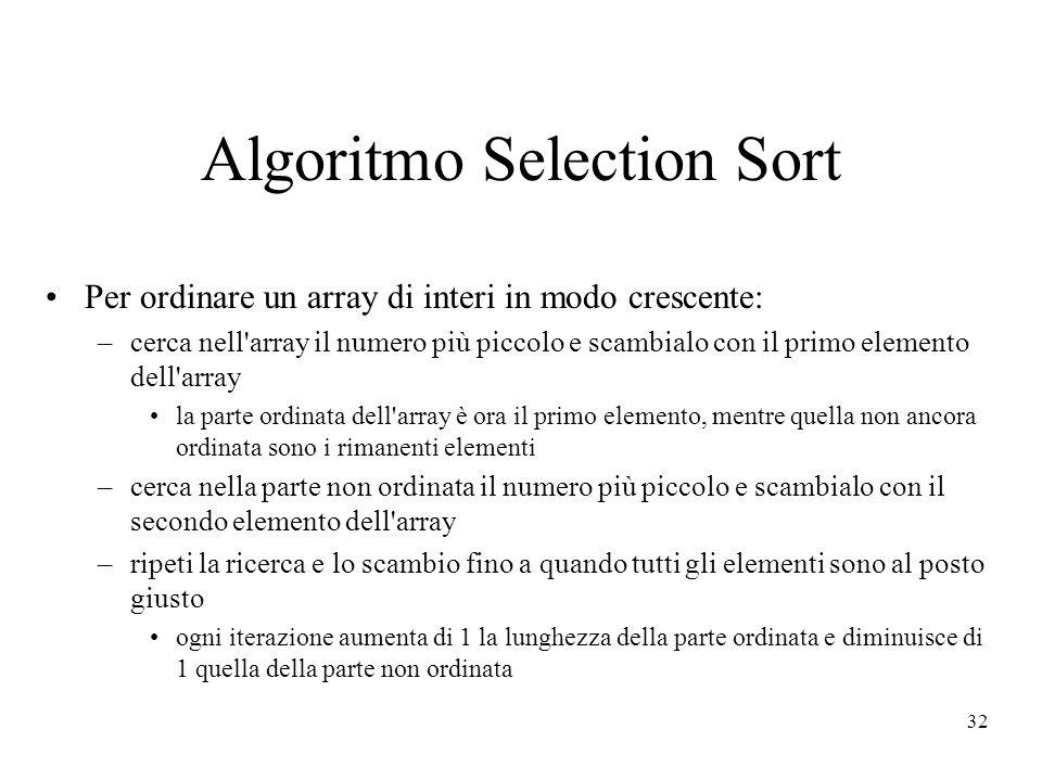 32 Algoritmo Selection Sort Per ordinare un array di interi in modo crescente: –cerca nell array il numero più piccolo e scambialo con il primo elemento dell array la parte ordinata dell array è ora il primo elemento, mentre quella non ancora ordinata sono i rimanenti elementi –cerca nella parte non ordinata il numero più piccolo e scambialo con il secondo elemento dell array –ripeti la ricerca e lo scambio fino a quando tutti gli elementi sono al posto giusto ogni iterazione aumenta di 1 la lunghezza della parte ordinata e diminuisce di 1 quella della parte non ordinata