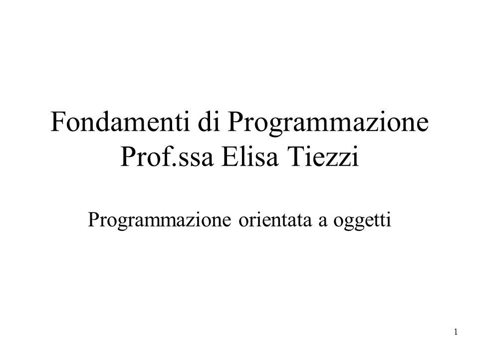 1 Fondamenti di Programmazione Prof.ssa Elisa Tiezzi Programmazione orientata a oggetti