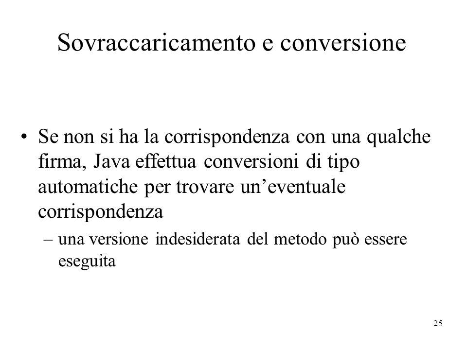 25 Sovraccaricamento e conversione Se non si ha la corrispondenza con una qualche firma, Java effettua conversioni di tipo automatiche per trovare une