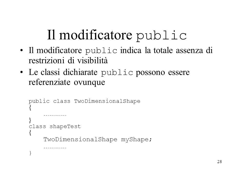 28 Il modificatore public Il modificatore public indica la totale assenza di restrizioni di visibilità Le classi dichiarate public possono essere refe