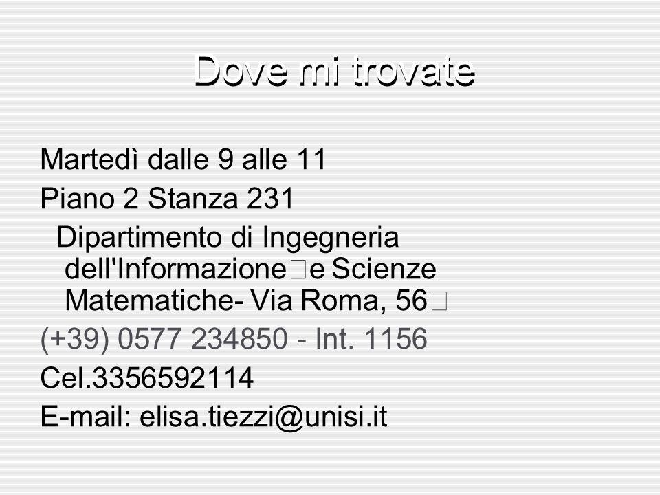 Dove mi trovate Martedì dalle 9 alle 11 Piano 2 Stanza 231 Dipartimento di Ingegneria dell'Informazione e Scienze Matematiche- Via Roma, 56 (+39) 0577