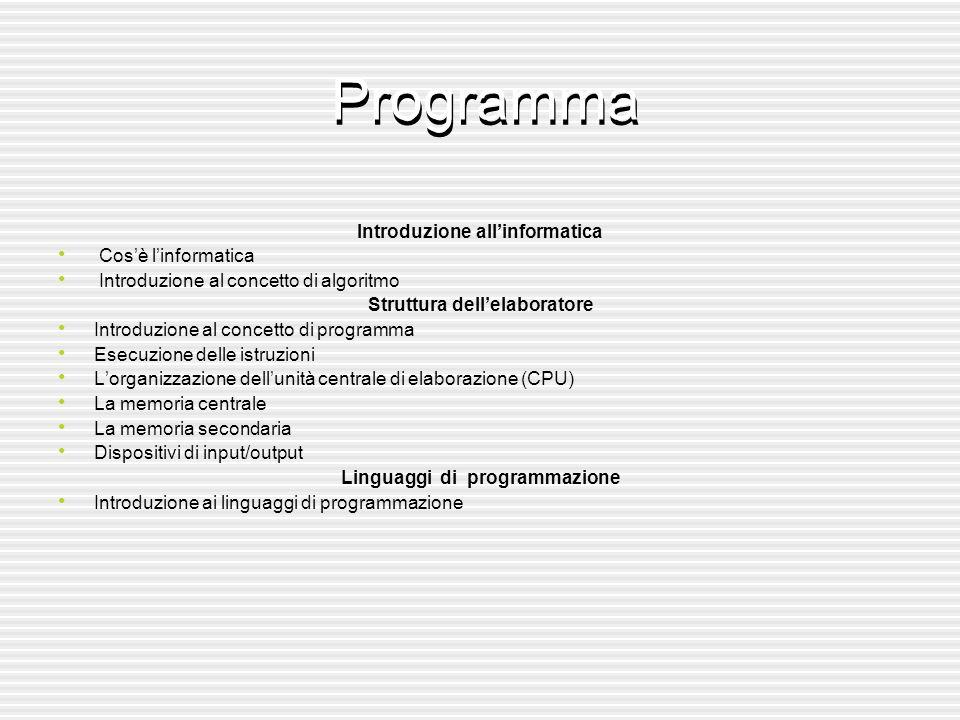 Elementi del Linguaggio Java l Ambiente di lavoro l Struttura di un programma l Tipi di dati fondamentali l Istruzioni di input/output l Costrutto decisionale if-then-else l I cicli con contatore for l Cicli condizionali while l Dati strutturati: stringhe e vettori l Cicli for annidiati l Classi e oggetti l Implementazioni di algoritmi Introduzione alla Complessità l Complessità di problemi l Analisi del caso medio e caso pessimo l Valutazione della complessità: relazioni di ricorrenza Progetto e analisi di alcuni algoritmi di Ordinamento l Ricorsività l Divide et impera l Mergesort l Quicksort Sistemi operativi l Windows