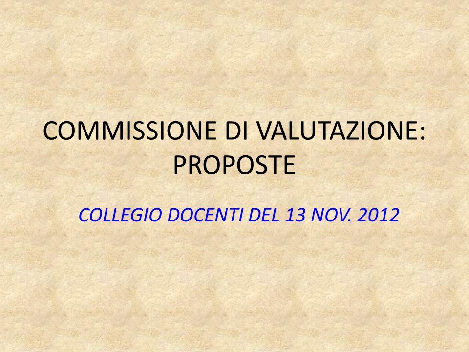 COMMISSIONE DI VALUTAZIONE: PROPOSTE COLLEGIO DOCENTI DEL 13 NOV. 2012
