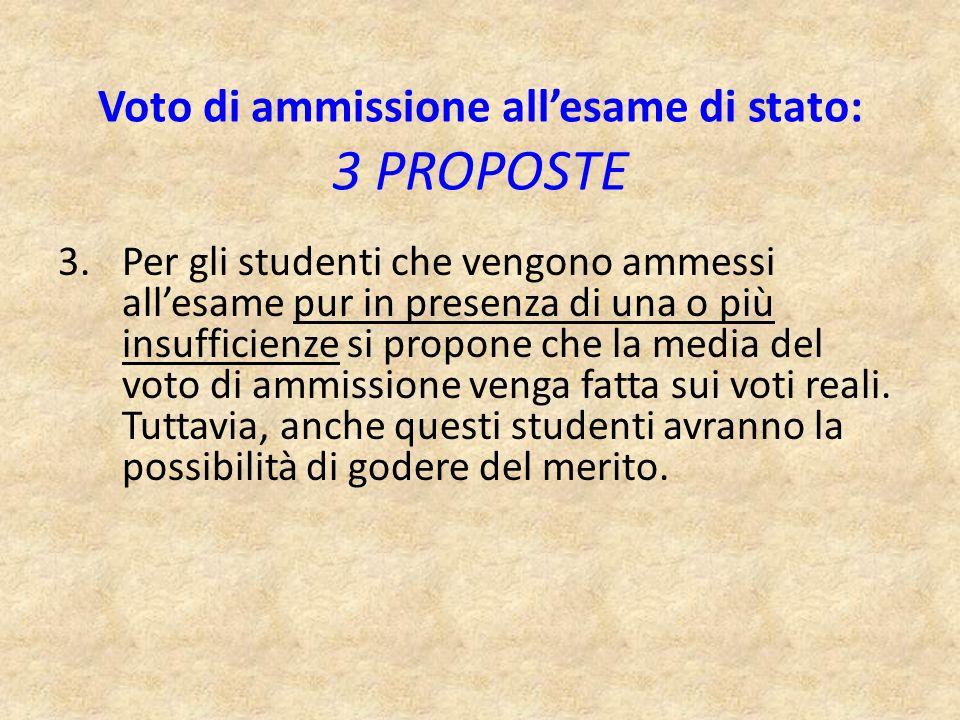 3.Per gli studenti che vengono ammessi allesame pur in presenza di una o più insufficienze si propone che la media del voto di ammissione venga fatta