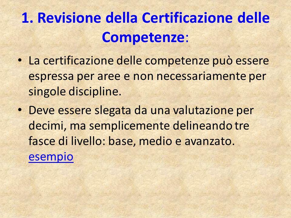 1. Revisione della Certificazione delle Competenze: La certificazione delle competenze può essere espressa per aree e non necessariamente per singole
