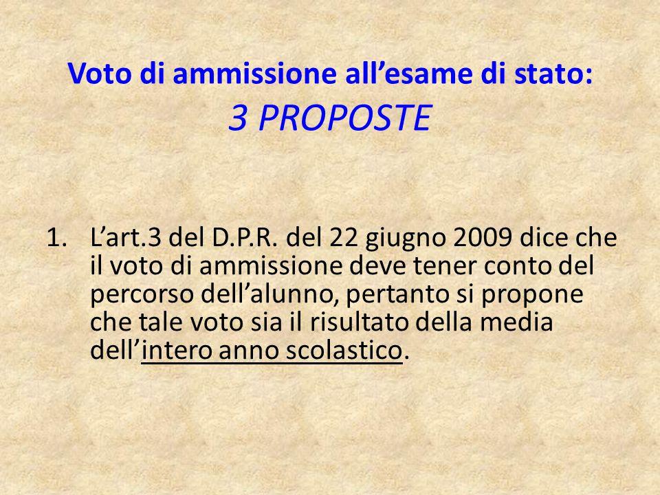 1.Lart.3 del D.P.R. del 22 giugno 2009 dice che il voto di ammissione deve tener conto del percorso dellalunno, pertanto si propone che tale voto sia