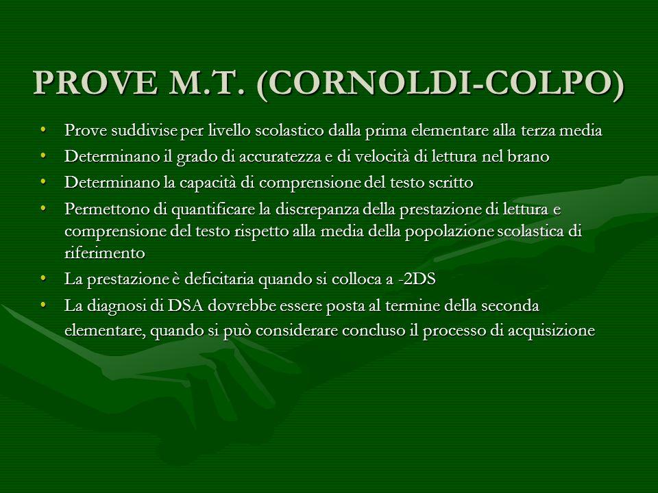 PROVE M.T. (CORNOLDI-COLPO) Prove suddivise per livello scolastico dalla prima elementare alla terza mediaProve suddivise per livello scolastico dalla