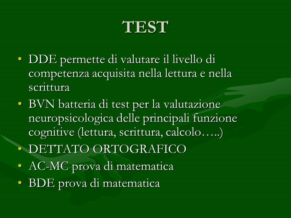 TEST DDE permette di valutare il livello di competenza acquisita nella lettura e nella scritturaDDE permette di valutare il livello di competenza acqu