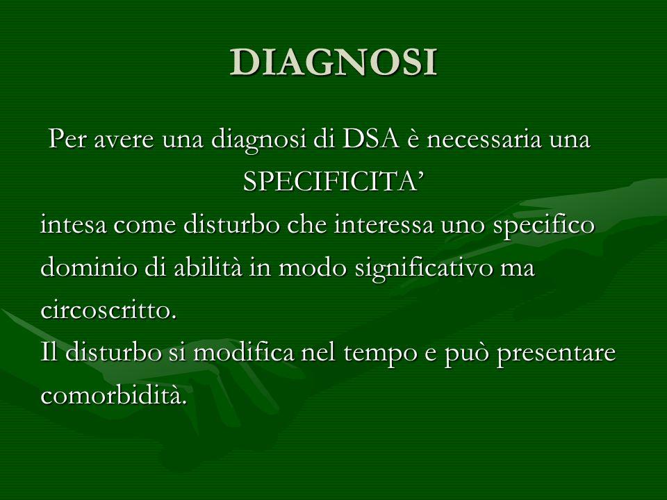 DIAGNOSI Per avere una diagnosi di DSA è necessaria una Per avere una diagnosi di DSA è necessaria unaSPECIFICITA intesa come disturbo che interessa u
