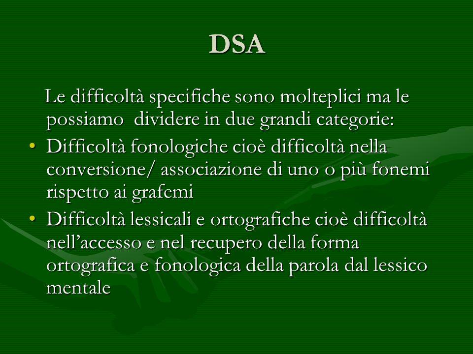 DSA Le difficoltà specifiche sono molteplici ma le possiamo dividere in due grandi categorie: Le difficoltà specifiche sono molteplici ma le possiamo
