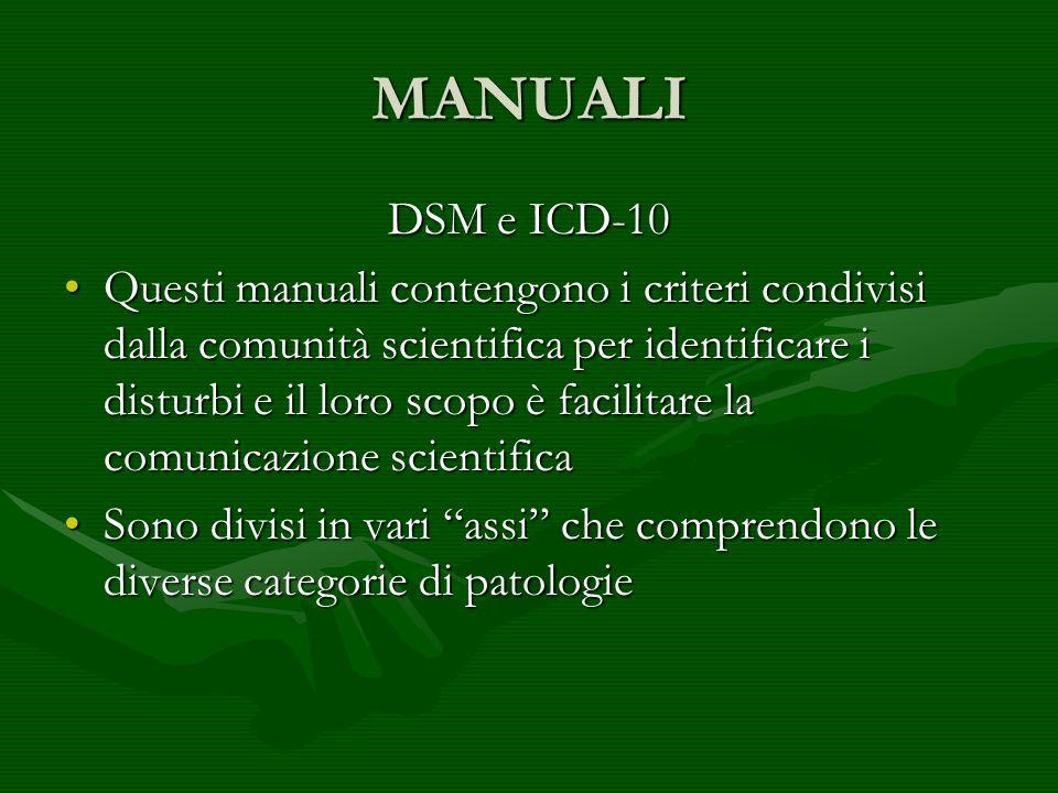 MANUALI DSM e ICD-10 Questi manuali contengono i criteri condivisi dalla comunità scientifica per identificare i disturbi e il loro scopo è facilitare