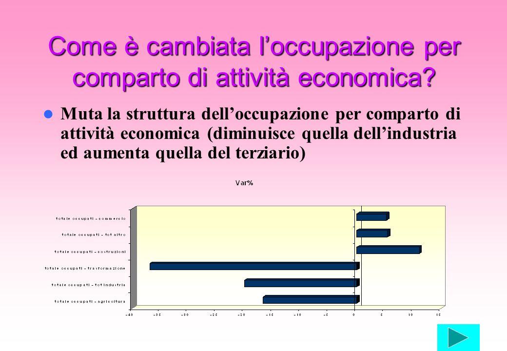 Come è cambiata loccupazione per comparto di attività economica? Muta la struttura delloccupazione per comparto di attività economica (diminuisce quel