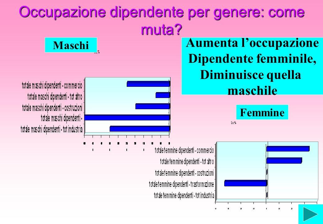 Occupazione dipendente per genere: come muta? Aumenta loccupazione Dipendente femminile, Diminuisce quella maschile Maschi Femmine
