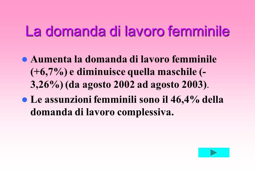 La domanda di lavoro femminile Aumenta la domanda di lavoro femminile (+6,7%) e diminuisce quella maschile (- 3,26%) (da agosto 2002 ad agosto 2003).