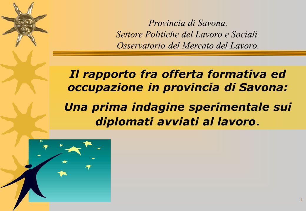1 Provincia di Savona. Settore Politiche del Lavoro e Sociali.