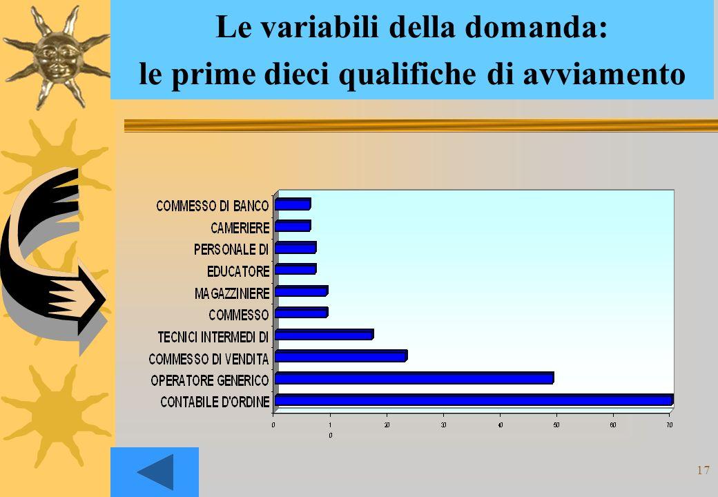 17 Le variabili della domanda: le prime dieci qualifiche di avviamento